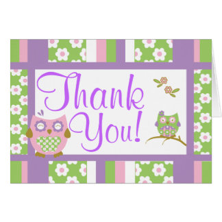 Chic Owls Baby Shower Thank You Note Card