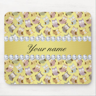 Chic Owls Faux Gold Foil Bling Diamonds Mouse Pad