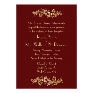 Chic Oxblood and Gold Wedding Invitation