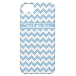 Chic Pale Blue and White Chevrons Pattern iPhone 5 Cases