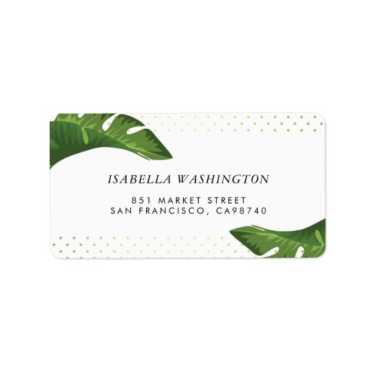 Chic Palm Leaves Tropical Wedding Address Address Label