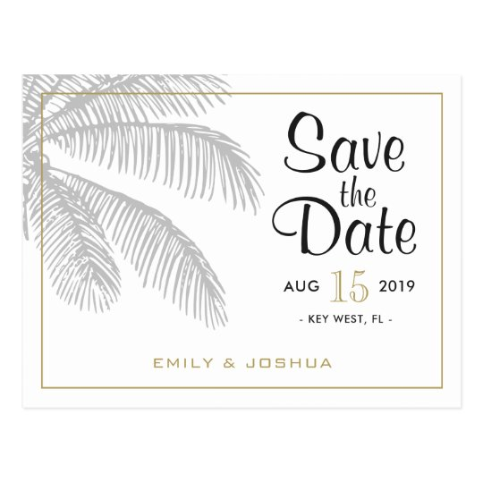 Chic Palm Tree & Gold Save the Date
