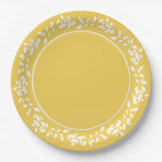 CHIC PANTONE 2017_PRIMROSE YELLOW/WHITE LEAVES PAPER PLATE