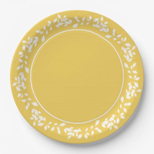 CHIC PANTONE 2017_PRIMROSE YELLOW/WHITE LEAVES PAPER PLATE