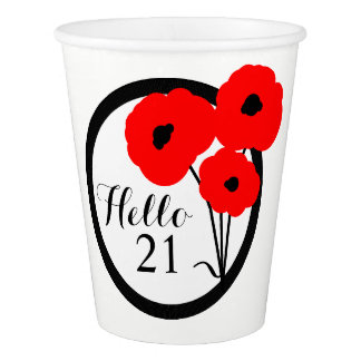 CHIC PAPER CUP_MOD RED POPPIES PAPER CUP