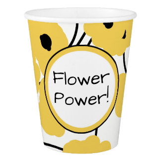 CHIC PAPER CUP_MOD YELLOW & BLACK POPPIES