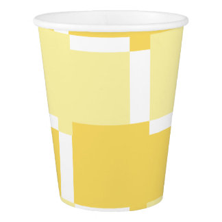 CHIC PAPER CUP_YELLOW & WHITE GEOMETRIC PAPER CUP