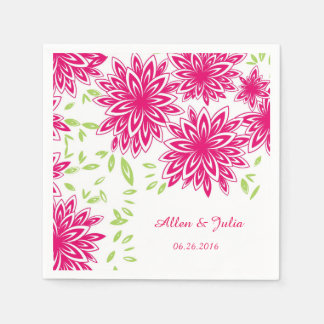CHIC PAPER NAPKIN_HOT PINK/GREEN FLORAL PAPER SERVIETTES