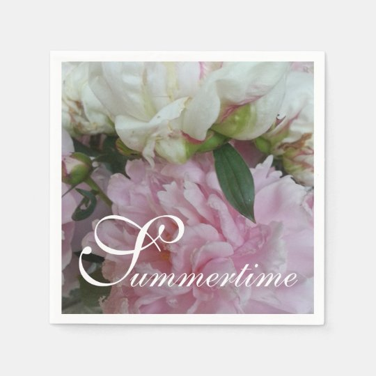 "CHIC PAPER NAPKIN_""Summertime"" PEONIES Disposable Serviette"