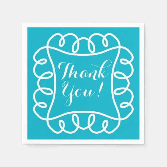 "CHIC PAPER NAPKIN_""Thank You!"" WHITE/TURQUOISE"
