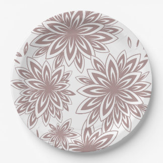 CHIC PAPER PLATE_471 PUTTY/WHITE FLORAL 9 INCH PAPER PLATE