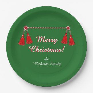 CHIC PAPER PLATE_CHRISTMAS RED TASSE/STRIIPES 9 INCH PAPER PLATE