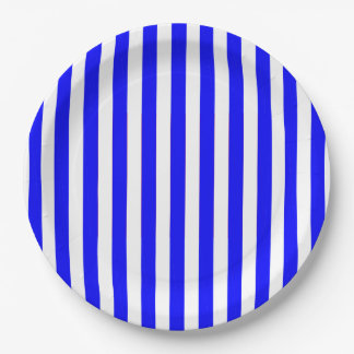 CHIC PAPER PLATE_HAPPY 4TH! BLUE STRIPES 9 INCH PAPER PLATE