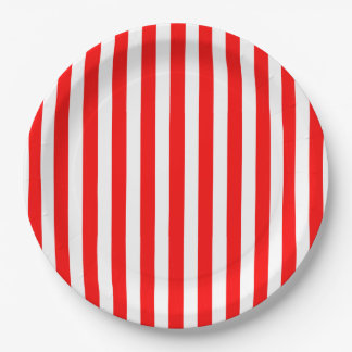 CHIC PAPER PLATE_HAPPY 4TH! RED STRIPES 9 INCH PAPER PLATE