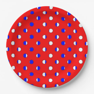 CHIC PAPER PLATE_HAPPY 4TH! RED/WHITE/BLUE DOTS 9 INCH PAPER PLATE