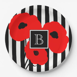 CHIC PAPER PLATE_MOD RED POPPIES ON STRIPES 9 INCH PAPER PLATE