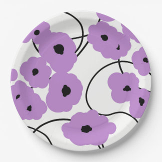 CHIC PAPER PLATE_MODERN LAVENDER AND BLACK POPPIES PAPER PLATE