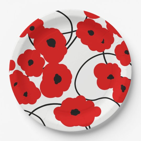 CHIC PAPER PLATE_MODERN REDPOPPIES PAPER PLATE