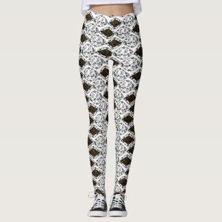 Chic Paris Diamond Damask Pattern Custom Leggings