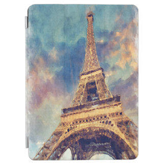 Chic Paris Eiffel Tower Cute Pastel Watercolor Art iPad Air Cover