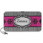 Chic Paris Pink and Black Fancy Stripes Speaker System