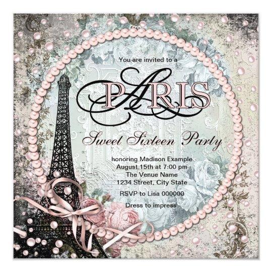 Chic Paris Sweet 16 Party Card