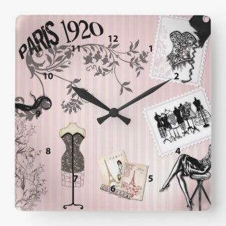 Chic Paris Vintage Fashion Square Wall Clock