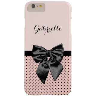 Chic Parisian Pink Polka Dots Black Bow and Name Barely There iPhone 6 Plus Case