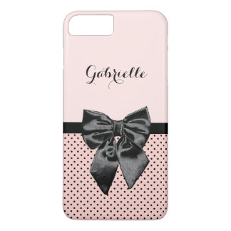 Chic Parisian Pink Polka Dots Black Bow and Name iPhone 7 Plus Case