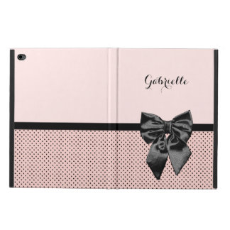 Chic Parisian Pink Polka Dots Black Bow and Name Powis iPad Air 2 Case
