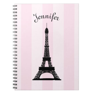 Chic Parisian Pink Stripe Black Eiffel Tower Notebook