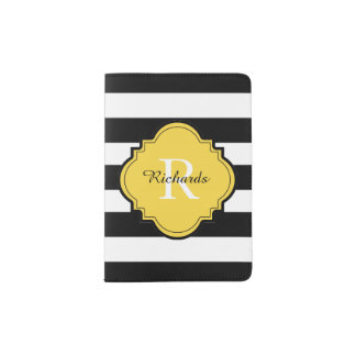 CHIC PASSPORT HOLDER_BLACK/WHITE/57 YELLOW PASSPORT HOLDER