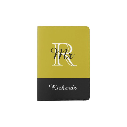"CHIC PASSPORT HOLDER_""Mr"" BLACK/WHITE/191 GOLD Passport"