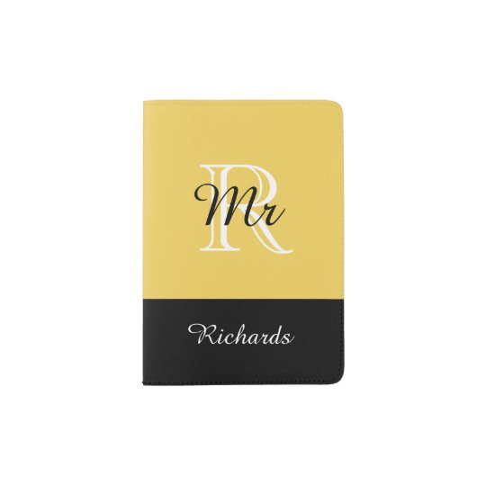 "CHIC PASSPORT HOLDER_""Mr"" BLACK/WHITE/PRIMROSE Passport"