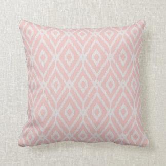 Chic pastel blush pink ikat tribal diamond pattern throw cushions