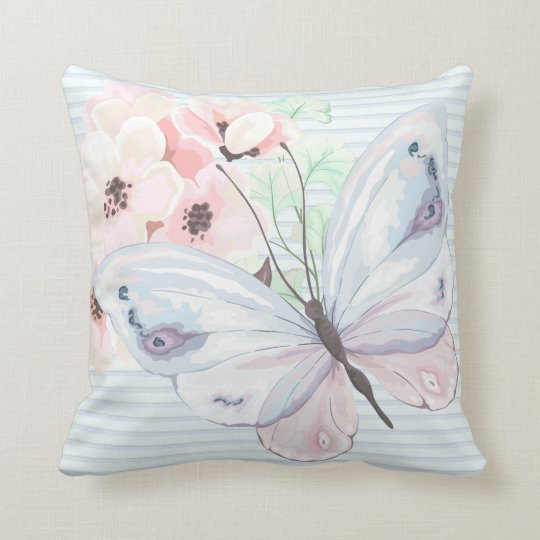 Chic Pastel Butterfly Throw Pillow