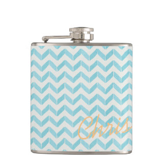 Chic Pastel turquoise Chevron Custom Monogram Hip Flask