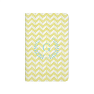 Chic Pastel Yellow Teal Chevron Custom Monogram Journal