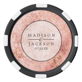 Chic Peach Marble Watercolor Wedding Favor Poker Chips