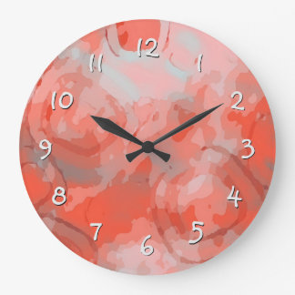 Chic Peach Pink Coral Red Squares Circles Pattern Large Clock