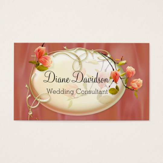 Chic Peach Satin Look Floral Business Card