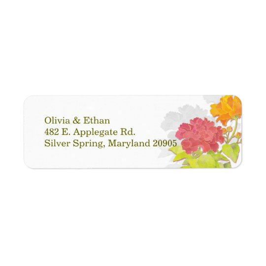 Chic Peony Wedding Return Address Labels