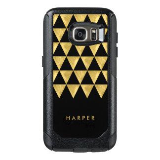 Chic Personalize Name Black Triangle Geometric OtterBox Samsung Galaxy S7 Case
