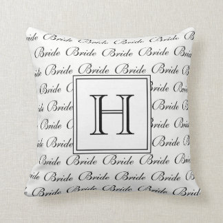 """CHIC PILLOW_""""BRIDE"""" TEXT AND MONOGRAM CUSHION"""