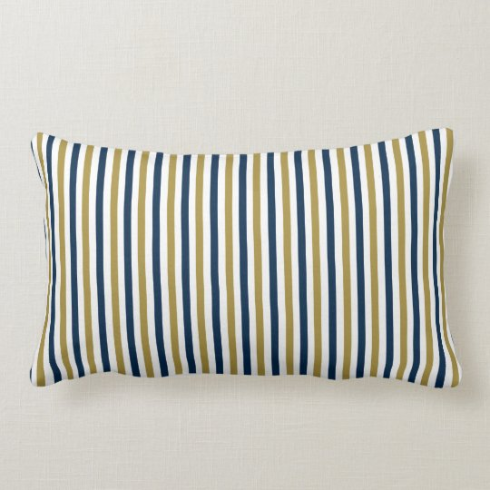 CHIC PILLOW_CLASSIC BLUE/GOLD/WHITE STRIPES #2 LUMBAR CUSHION