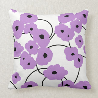 CHIC PILLOW_MOD LAVENDER AND BLACK POPPIES CUSHION