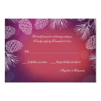 Chic Pine Reply Cards 9 Cm X 13 Cm Invitation Card