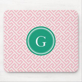 Chic pink abstract geometric pattern monogram mousepad