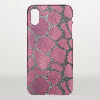 Chic pink and black giraffe print iPhone x case