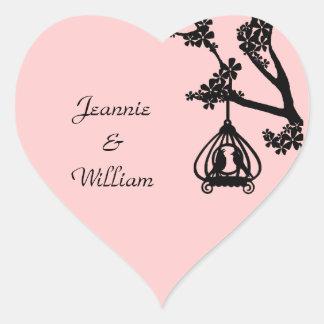 Chic Pink and Black Love Birds Heart Sticker